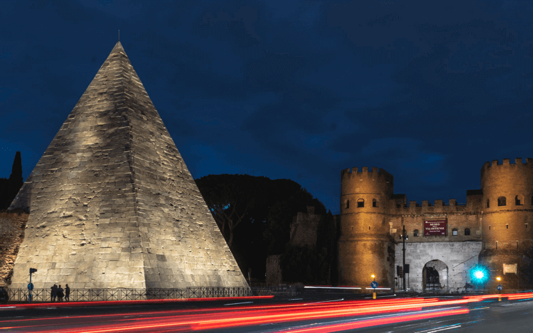 Acea's lighting for Rome's Pyramid of Cestius