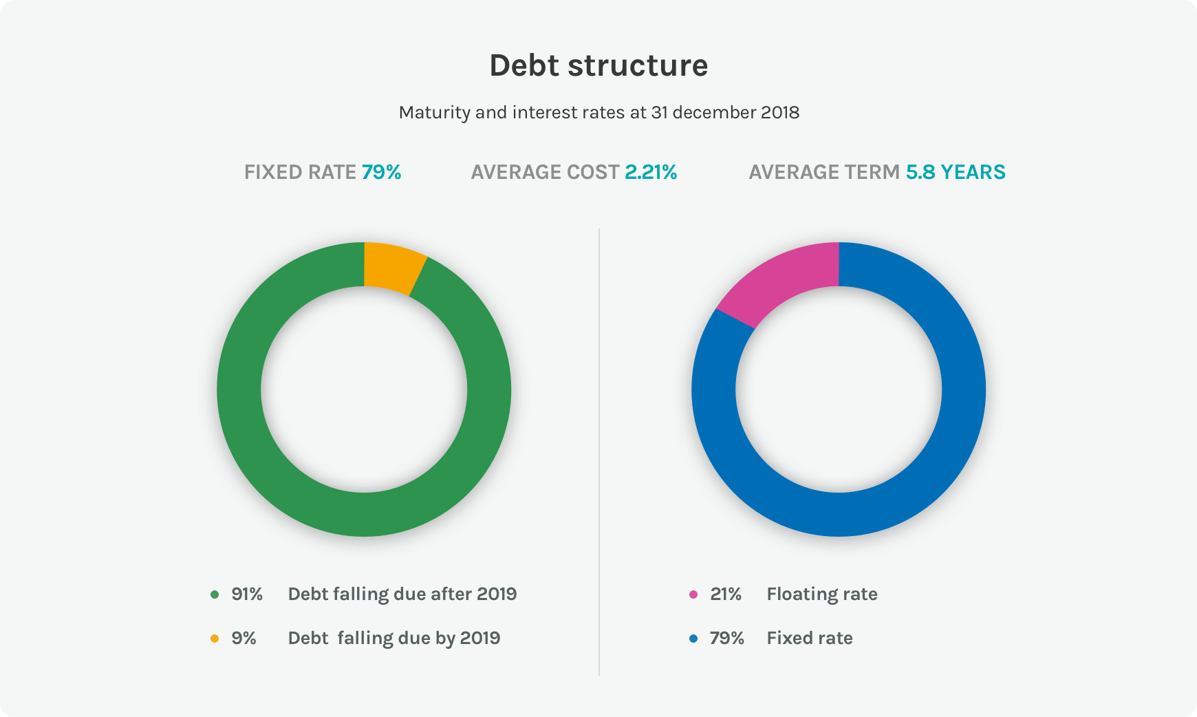 Diagrams on the debt structure of the Acea Group